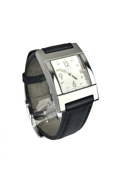 7700 Series Stainless Steel Water Resistant Black Leather Strap 3ATM Watch