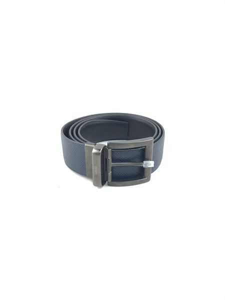 Men's Navy Blue/Black Reversible Grained/Smooth Leather Belt