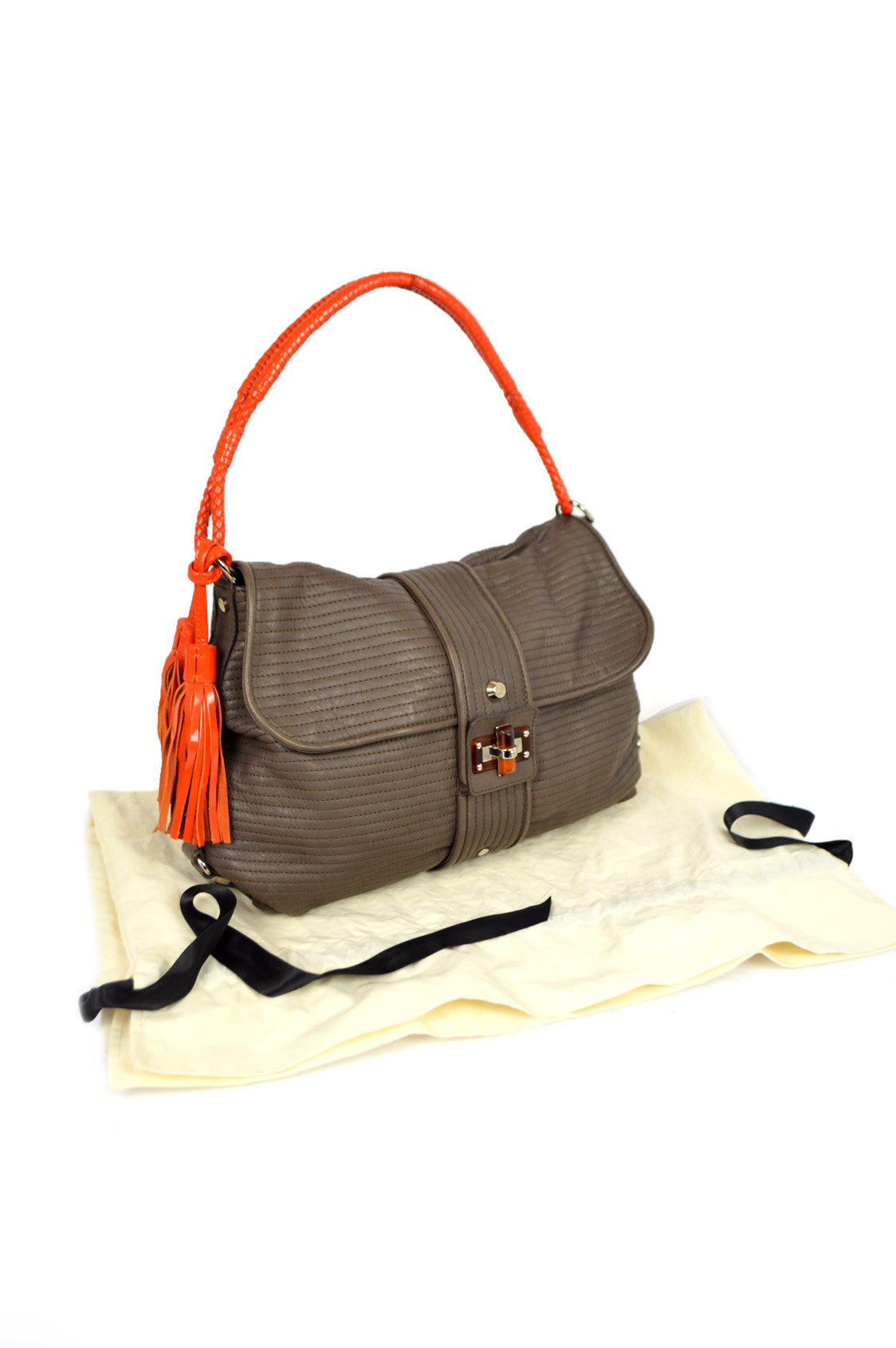Taupe Leather With Orange Pise Shoulder Bag