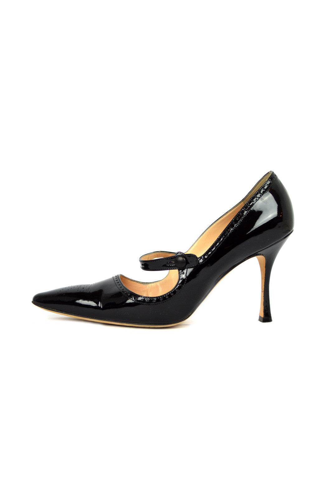 Black Patent Pointed-Toe Mary-Janes