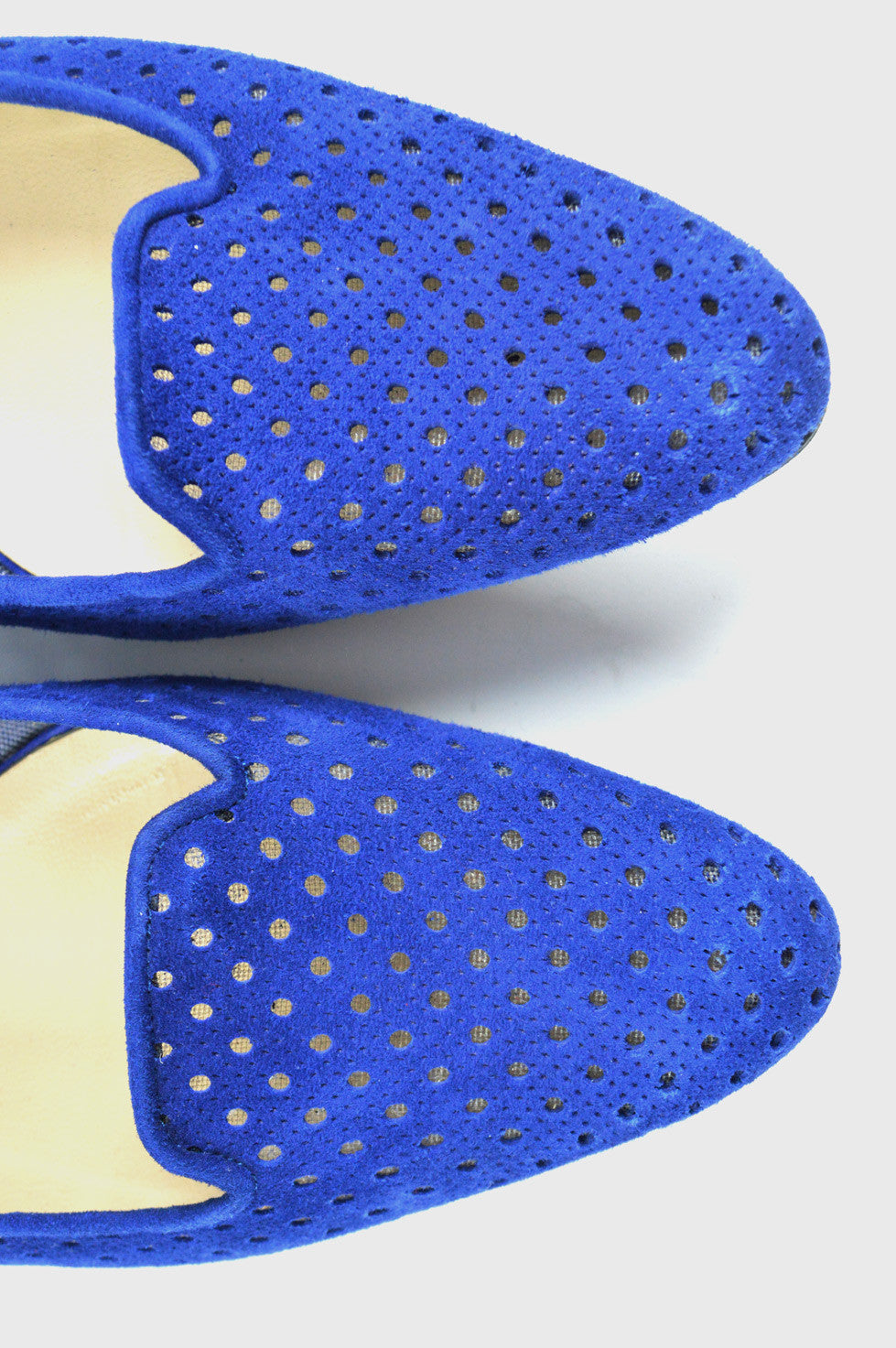 Blue Suede Perforated Flats