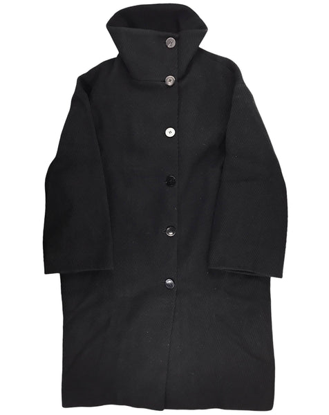 Black Wool High Collar Coat