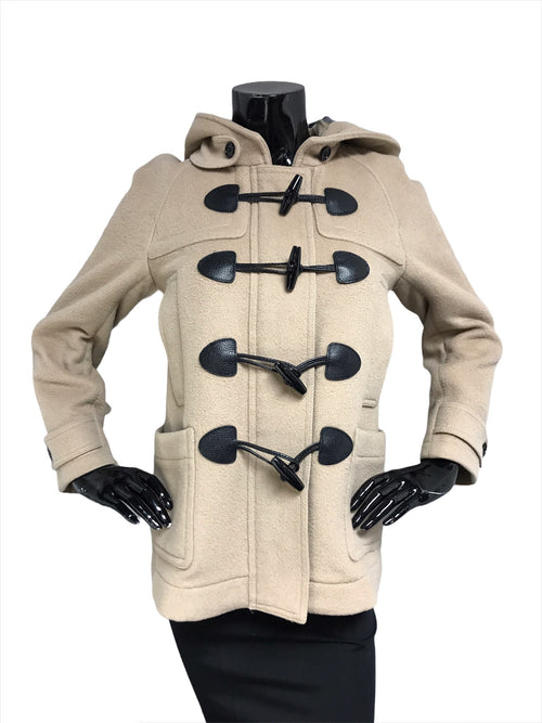Beige Wool Hooded Coat