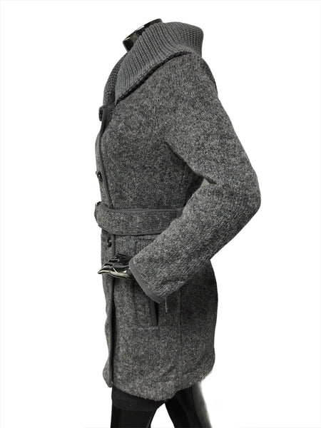 Grey Wool Double Breasted High Collar Coat