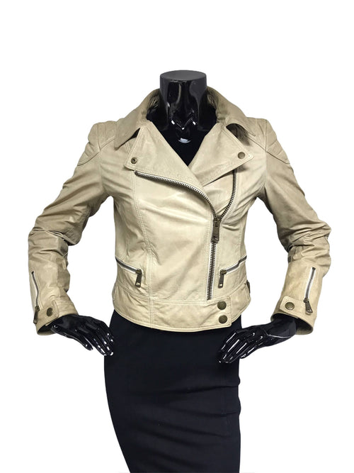 Ashleigh Biker Beige Aged Calfskin Leather Jacket W/AGHW