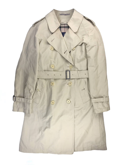 100% Wool Insert Beige Nylon Double Breasted Trench Coat W/RHW