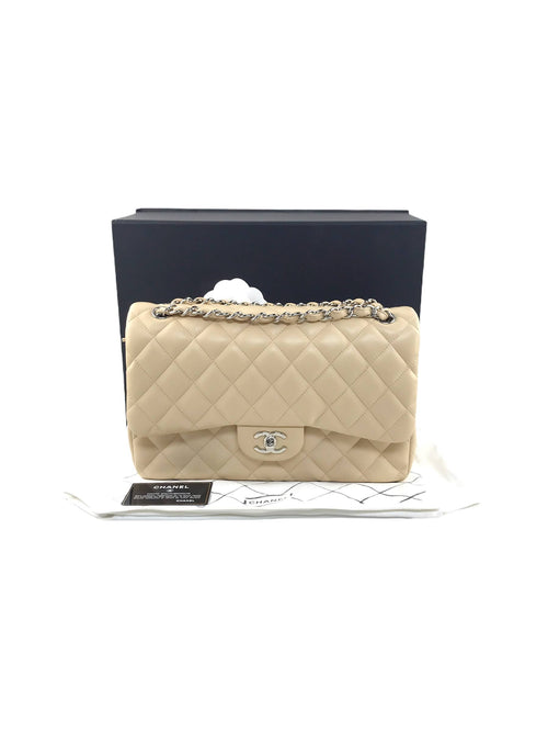 Nude Beige Quilted Lambskin Leather Double Flap Jumbo W/SHW
