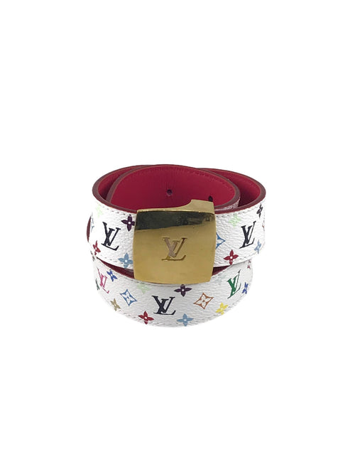 White Multi-Coloured Coated Monogram Canvas Belt W/GHW