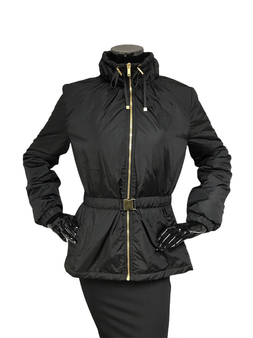 Black Nylon Drawstring Belted Coat W/AGHW