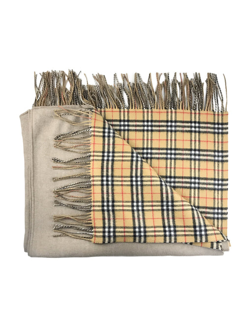 Cashmere Long Reversible Vintage Check Poncho