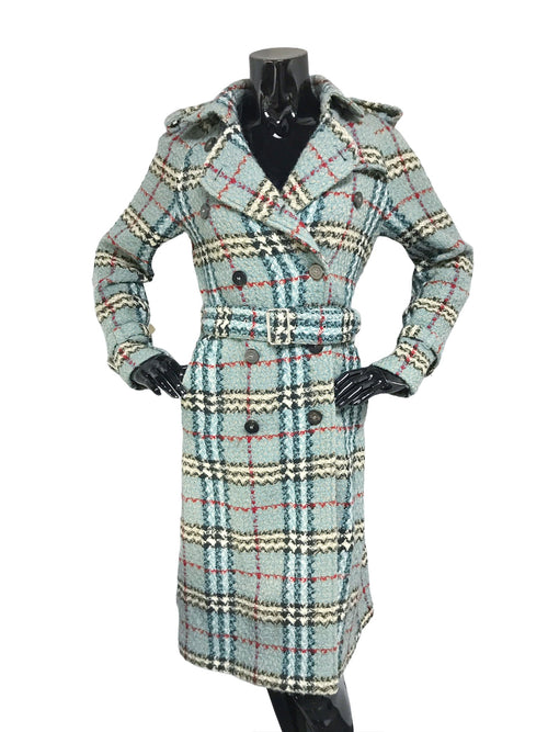 Blue Plaid Wool Long Double Breasted Belted Coat
