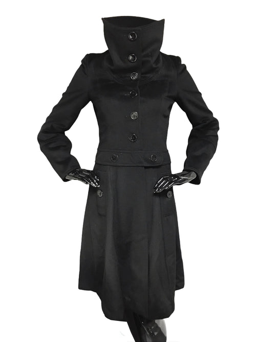Black Wool/ Cashmere Blend Long Coat