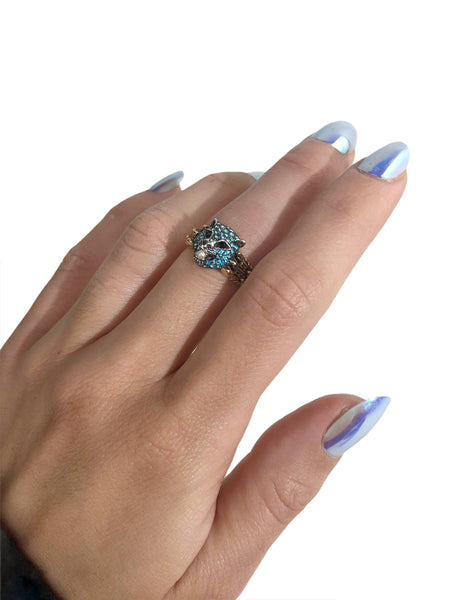 Le Marche de Merveilles 18K Yellow Gold and Silver Ring W/ Small Seed Pearl, Blue Topaz & black spinel eyes