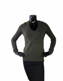 Chocolate Brown Sweater W/Jewel Embelishments On Shoulders