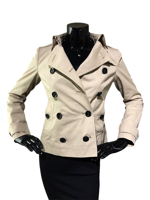 Beige 100% Cotton Short Double Breasted Coat
