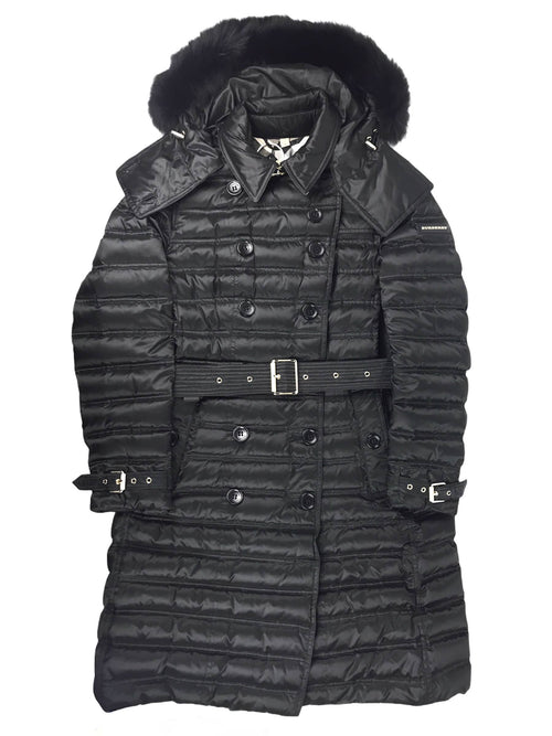 Black Chestorford Goose Down Quilted Puffer Belted Double Breasted  Fox Fur Trim Hooded Coat W/GHW