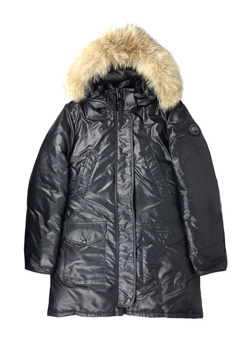 Black Down Filled Fox Fur Trim removable Hooded Down Filled Parka