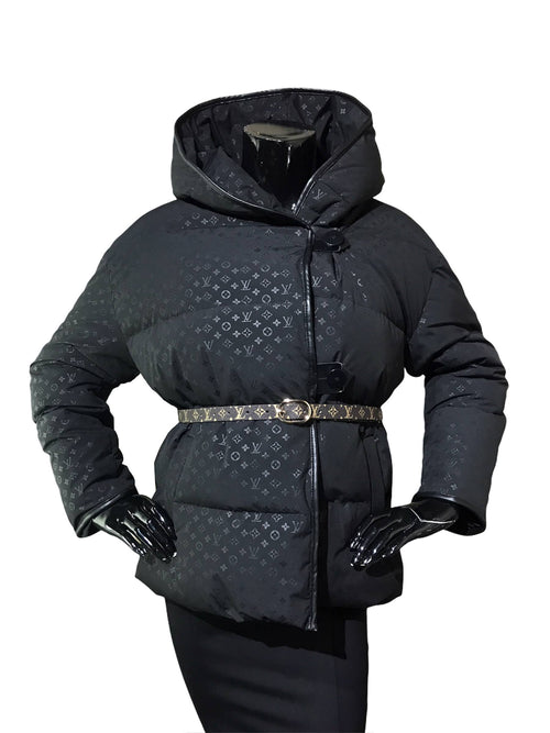 Black Monogram Jacquard Hooded Belted Down Puffer