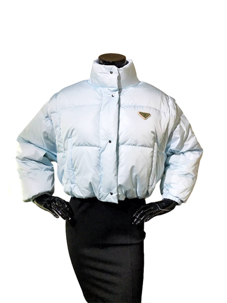 Light Blue Down Cropped Removable Sleeves Puffer W/SHW