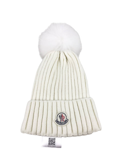 White Virgin Wool Fox Fur Pom Pom Beanie