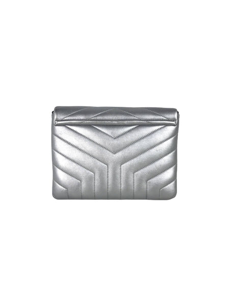 Metallic Silver Loulou Toy Matelasse Y Leather Crossbody Bag WSHW