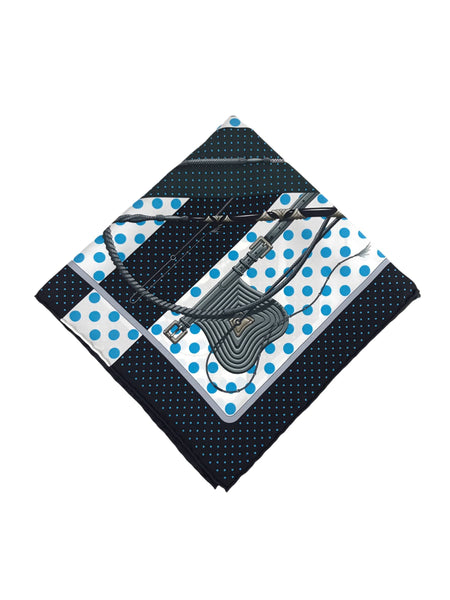 """Clic Clac"" Black/ Blue Poka Dot/White Silk Pocket Square"
