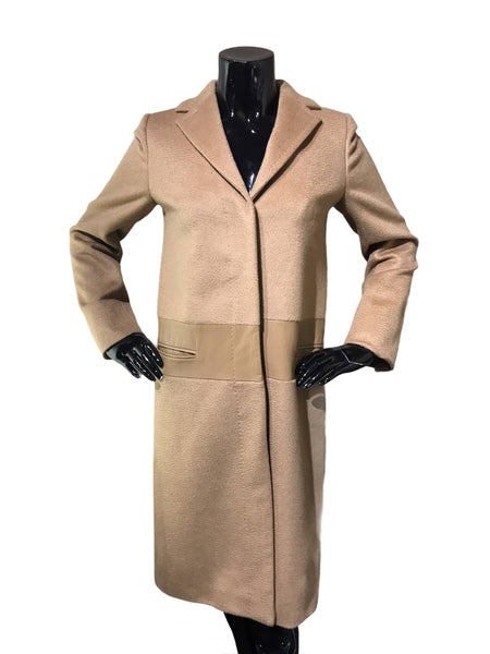 Camel Hair Long Coat W/ Leather Accent