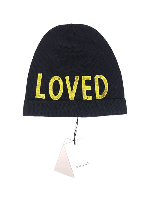 Black 100% Wool Loved Beanie W/Gold Sequins