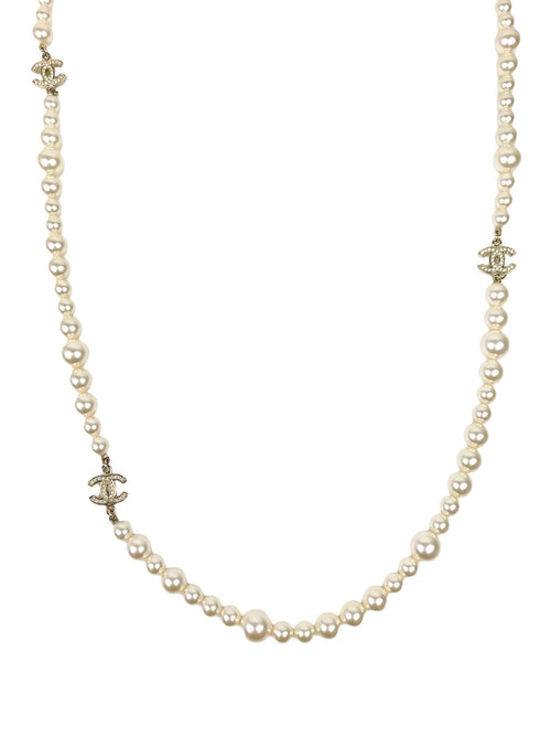 Double Strand Costume Pearl & Crystal CC Stations Necklace