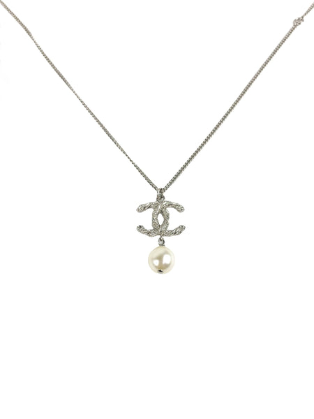 CC Crystal Pearl Drop Pendant Necklace W/SHW