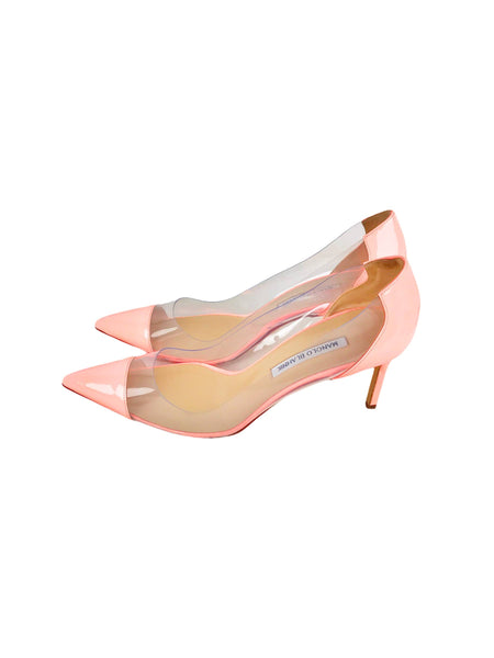 Coral and Clear PVC Pointed Toe Pumps