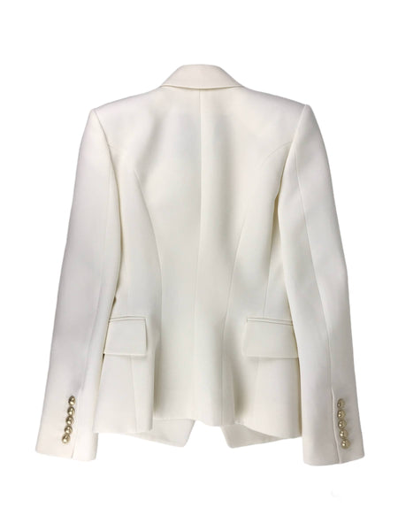 Cream Double Breasted Wool Blazer W/LGHW