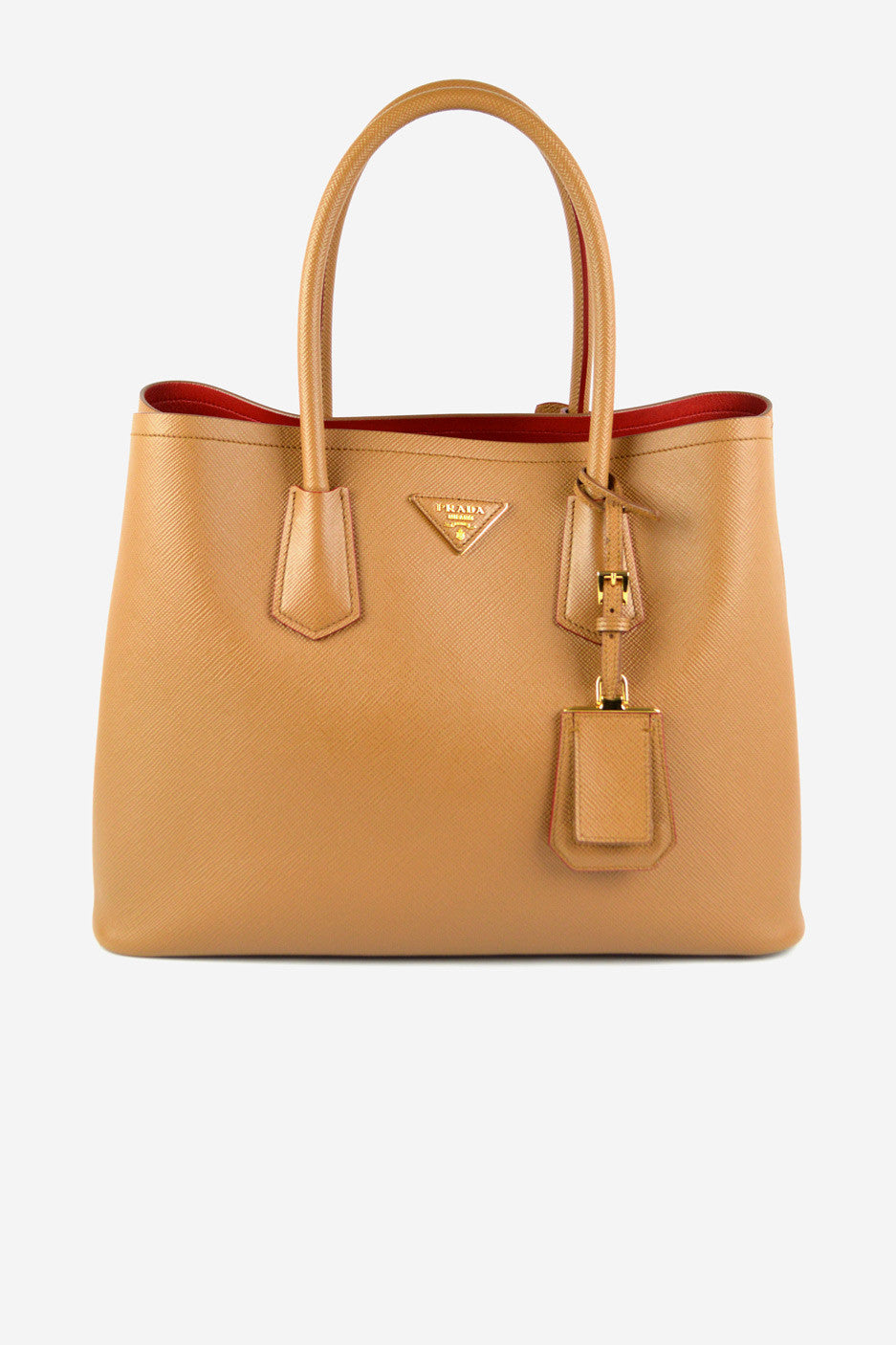 Caramel Saffiano Leather Double Tote