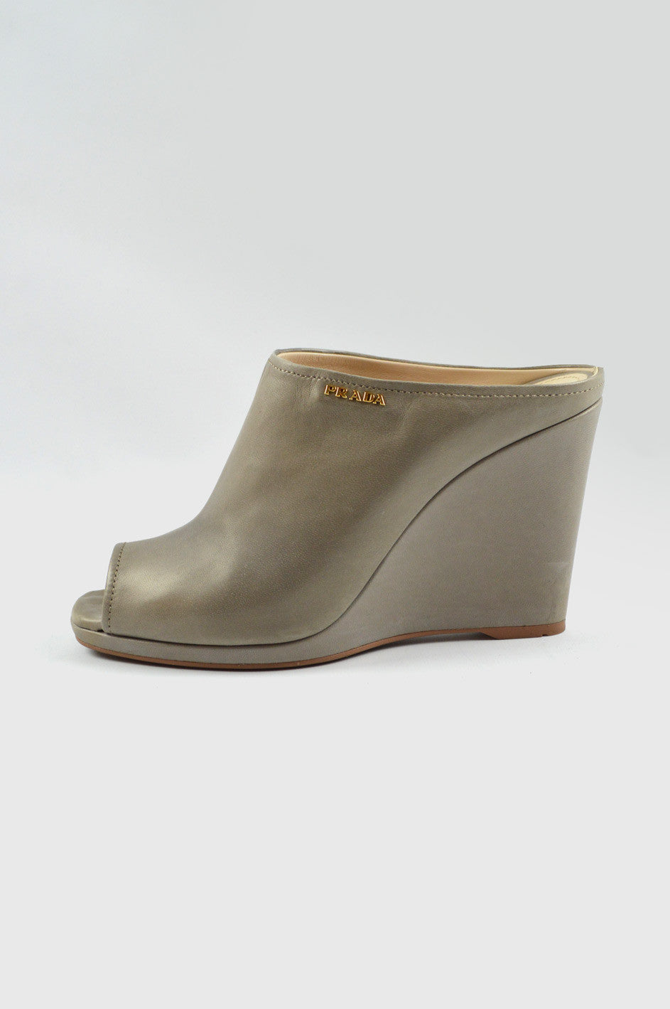Gray Leather Clogs