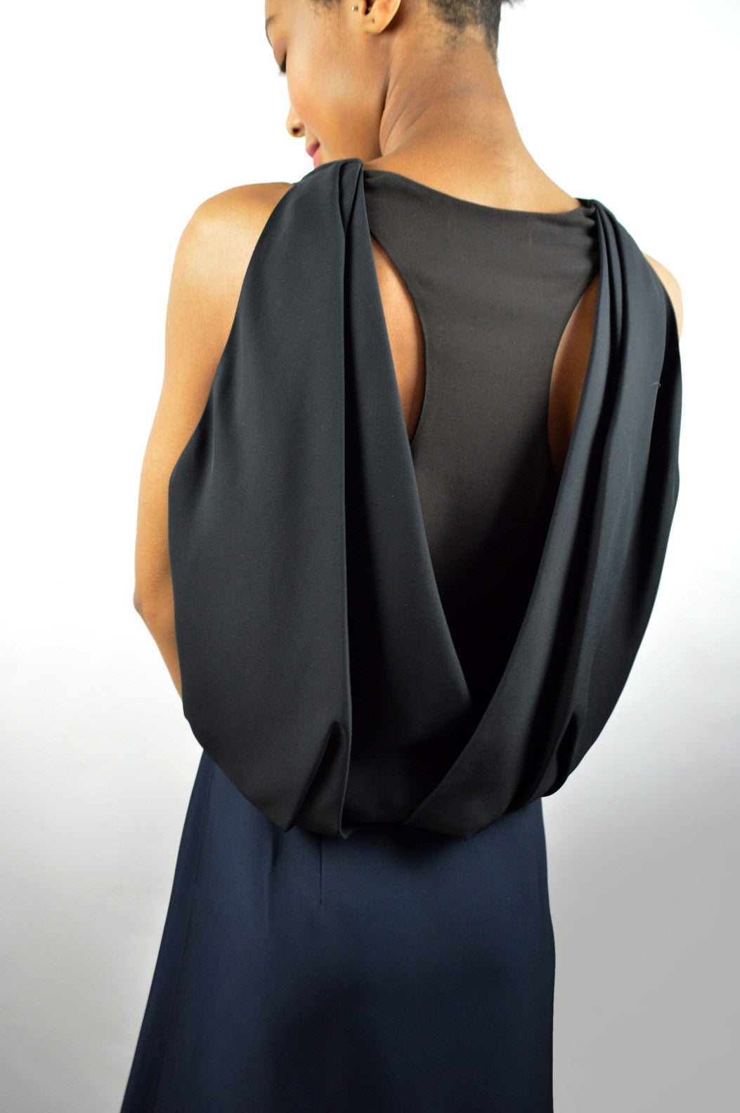 Navy & Black Dress With Cape Detail