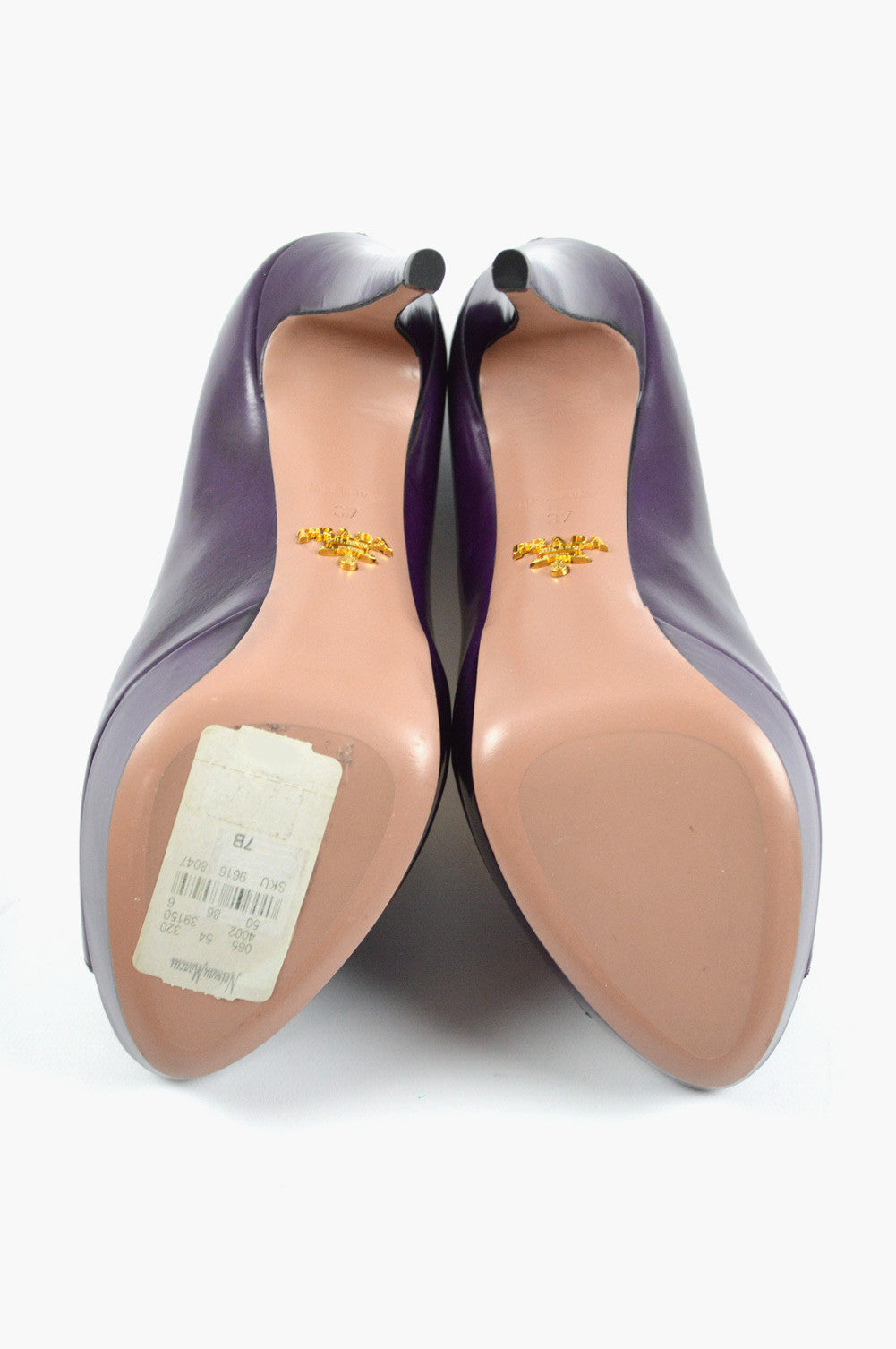 Purple Leather Peep-Toe Pumps