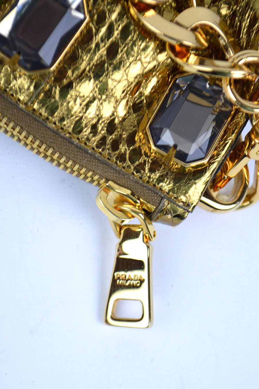 Stone Embellished Golden Snakeskin Clutch