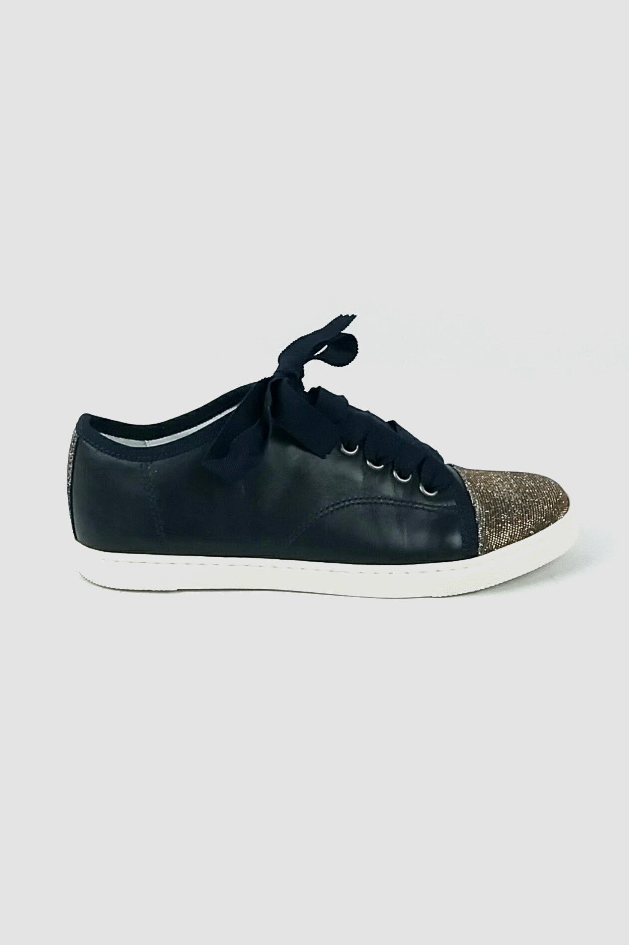 LANVIN Navy Leather Sneakers w/ Sparkle Toe Cap