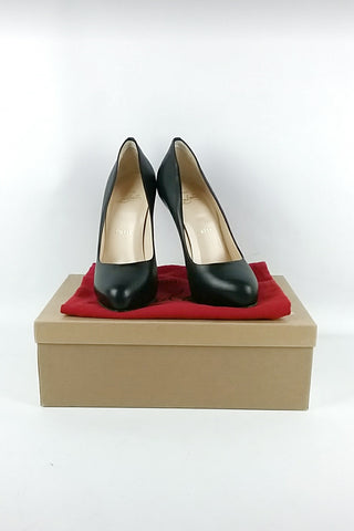Black Leather Ron Ron 85 Pumps w/ Metal Heel