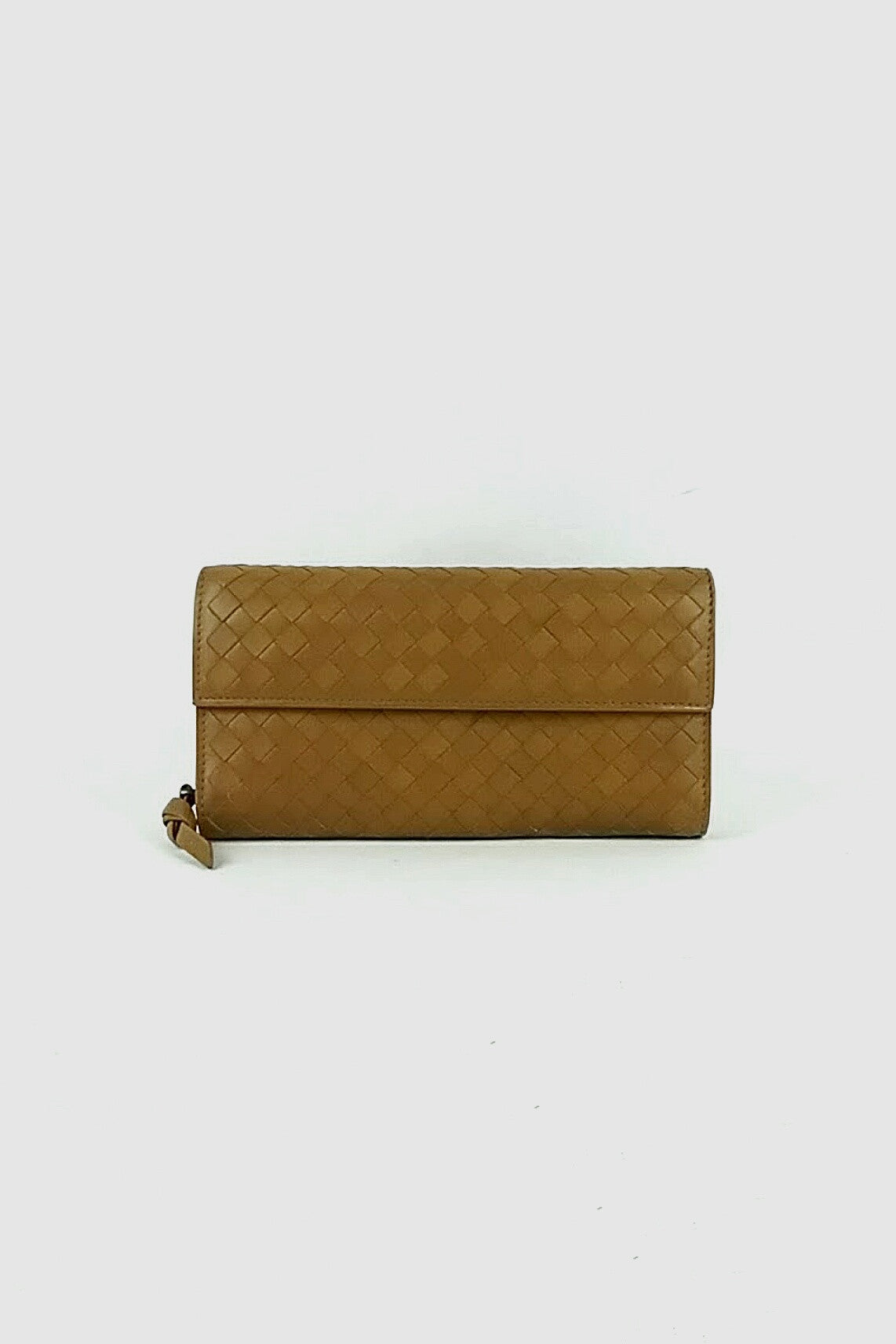 Tan Woven Leather Continental Wallet