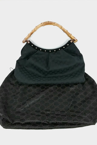 Black Monogram Canvas Hobo w/ Bamboo Handle