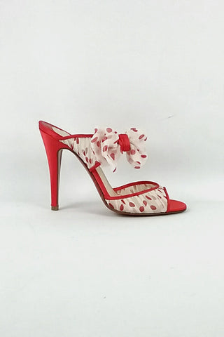 Miss Chief Red Polka Dot Chiffon/Satin Sandals