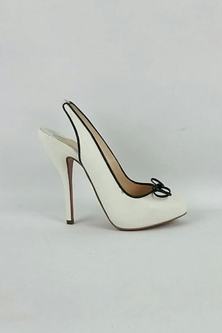White Canvas Georgineta 120 pumps