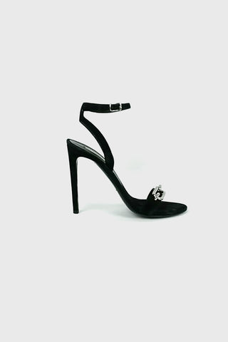 Black Suede Ankle Strap Stilettos