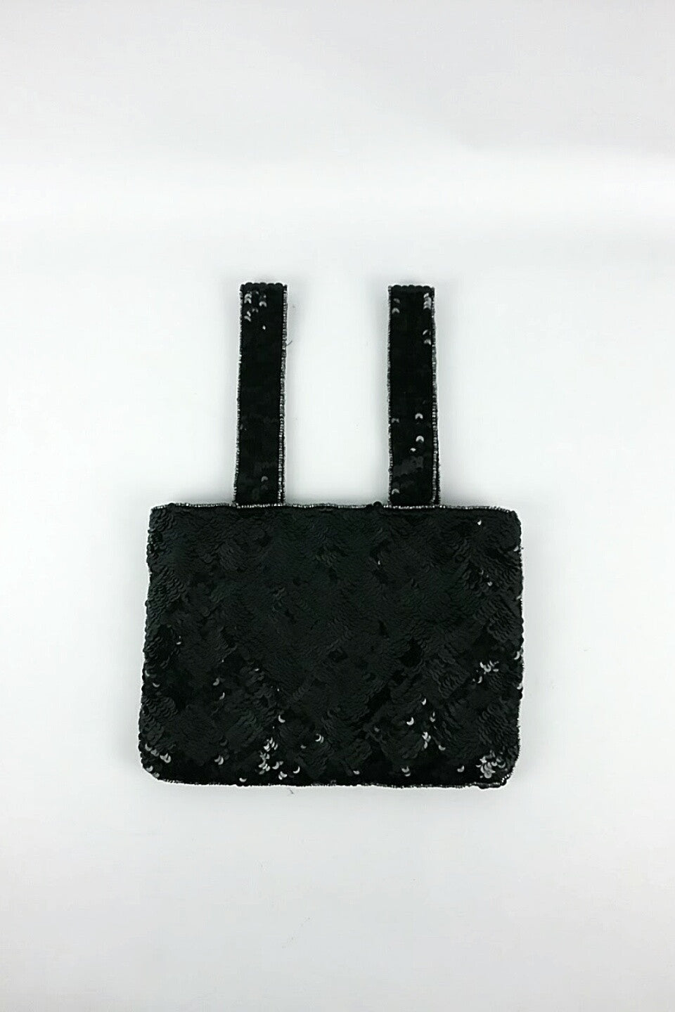 Black Sequin Fabric Evening Bag w/ Crystal CC