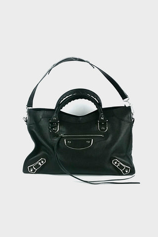 Black Leather Edge City Bag
