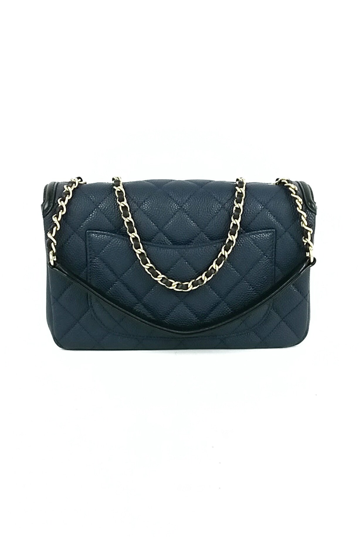 Navy Black Caviar Filigree Medium Flap Bag GHW