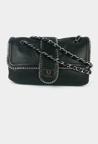 black lambskin Madison jumbo w/ chain wrap-around