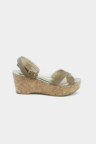 Nude/Light Gold Suede Cork Wedge Sandals