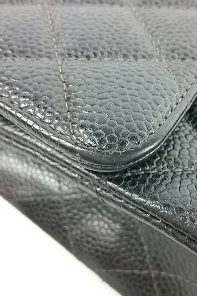 "10"" 2.55 Charcoal Caviar Double Flap Bag - Haute Classics"
